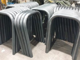 Stack of steel barriers in the workshop