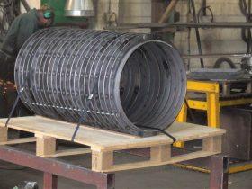 Pallet of rings in the workshop