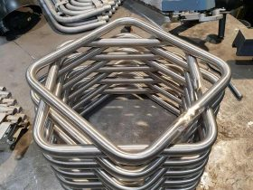 Stack of bent parts in the workshop